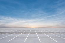 Empty Parking Lot On Sunset Ba...