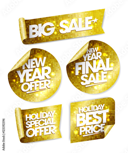 Golden Stickers Big Sale New Year Offer New Year Final Sale Holiday Special Offer Holiday Best Price Buy This Stock Vector And Explore Similar Vectors At Adobe Stock Adobe Stock