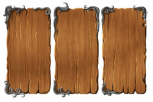 Colorful Set Of Realistic Wooden Interface Elements, Winodws Or Panels With Metal Frames