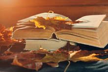 Vintage Autumn Still Life - Old Worn Open Books On The Table Near Dry Maple Leaves