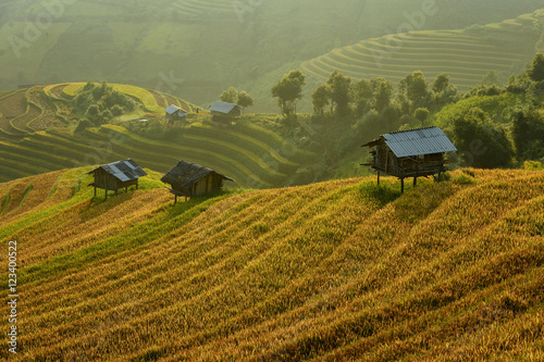 Fotobehang Rijstvelden Wooden huts in terraced rice fields, Mu Cang Chai, Vietnam