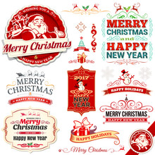Vector Set Of Vintage Christmas Labels, Badges And Banners With Santa Claus, Present, Tree, Sleigh And Reindeer Illustrations In Retro Style. Calligraphic And Typographic Design Elements.