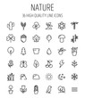 Set of nature icons in modern thin line style.