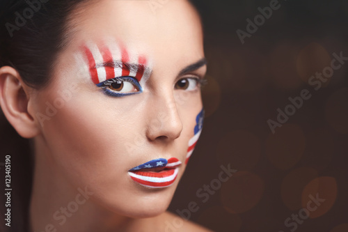 Garden Poster Beauty Girl with USA makeup on bokeh lights background