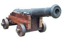 Ancient Cannon On Wheels Isola...