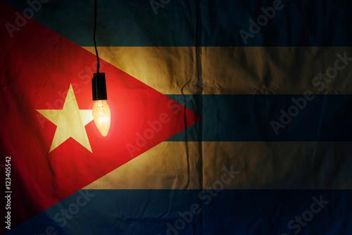 Fotografie, Obraz  Cuban flag lit lamp