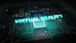 Hologram typo 'VIRTUAL REALITY' on CPU chip circuit, grow artificial intelligence technology.
