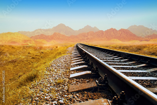 Poster Voies ferrées Railway in the Valley. Railway in the desert. railroad through the mountains. Transportation theme. Wild path for train
