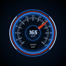 Realistic Vector Car Speedometer Interface