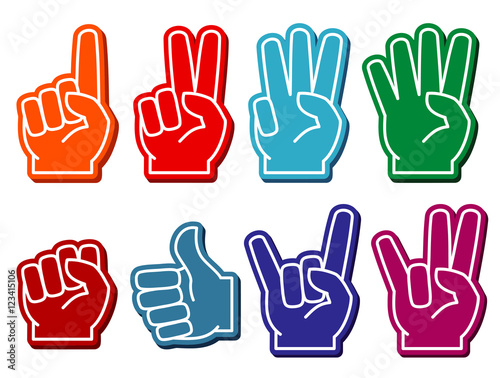 Foam fingers vector set Canvas-taulu