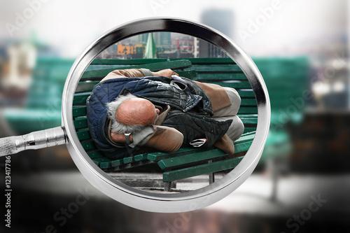 Obraz na plátně  migrante disteso su una panchina
