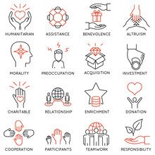 Vector Set Of 16 Thin Icons Re...