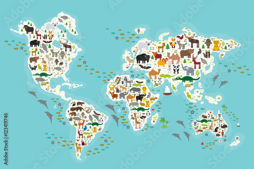 obraz PCV Cartoon animal world map for children and kids, Animals from all over the world, white continents and islands on blue background of ocean and sea. Vector