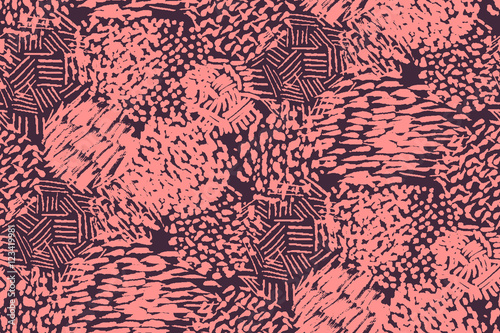Cotton fabric Seamless pencil scribble pattern in pink