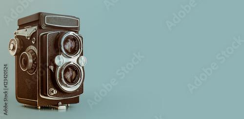 Fotografie, Obraz Vintage old TLR medium format film camera with copy space
