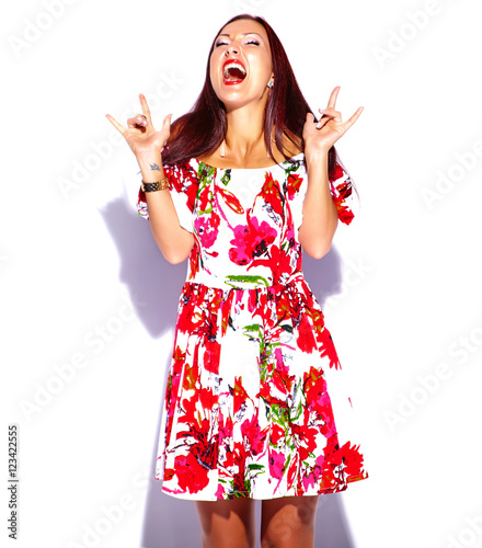 d6501ddb845 portrait of beautiful funny sexy brunette woman girl going crazy in  colorful bright summer red dress isolated on white showing rock and roll  sign