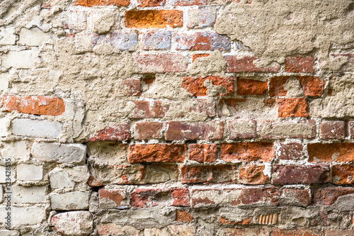 Keuken foto achterwand Schip Texture of old rustic brick wall painted with white