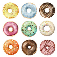 Hand Painted Watercolor Set Of Colorful Glazed Donuts Isolated On White. Bakery Illustration. Watercolor Donuts Set