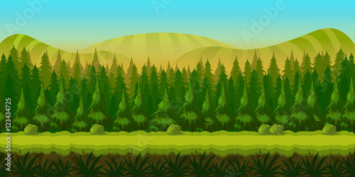 Photo sur Aluminium Vert chaux Seamless fantasy landscape, vector game background with separated layers for parallax effect