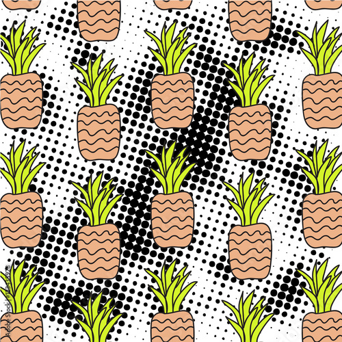 rysunkowe-ananasy-na-czarno-bialym-tle