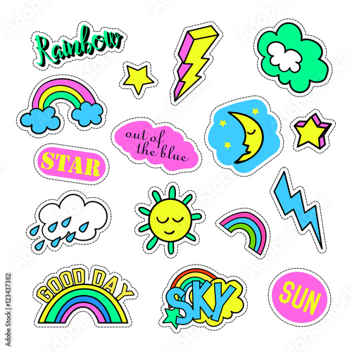 Poster Cartoon draw Pop art set with fashion patch badges and different sky elements. Stickers, pins, patches, quirky, handwritten notes collection. 80s-90s style. Trend. Vector illustration isolated. Vector clip art.