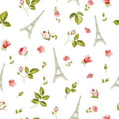 Fototapeta Paryż Pattern with red flowers, leaves and eiffel tower. Seamless background for fabric design. Vector illustration.