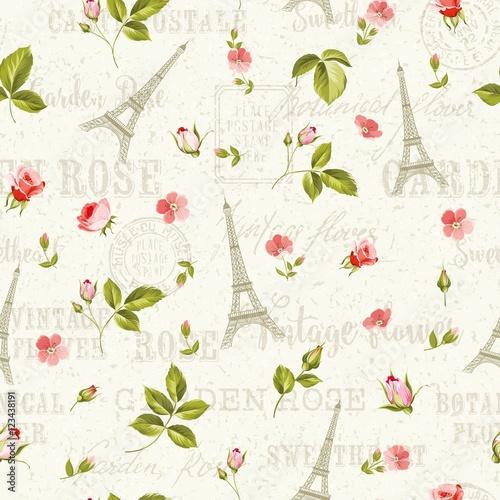 wzor-z-czerwonymi-kwiatami-liscmi-i-wieza-eifla-bezszwowy-tlo-z-wiosny-kwitnacymi-kwiatami-nad-popielatym-teksta-wzorem-z