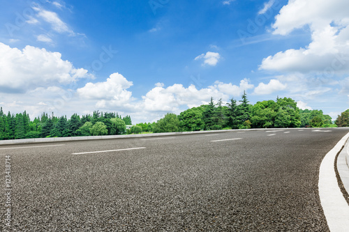 Poster Blauw asphalt road in front of the green woods