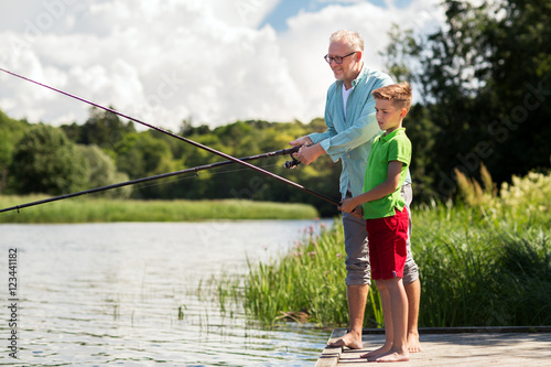 Poster Peche grandfather and grandson fishing on river berth