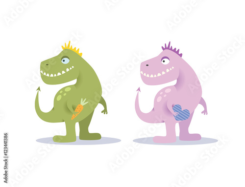 Cute dinosaurs illustration for children fashion, cartoon green and pink dinosaurs, funny characters
