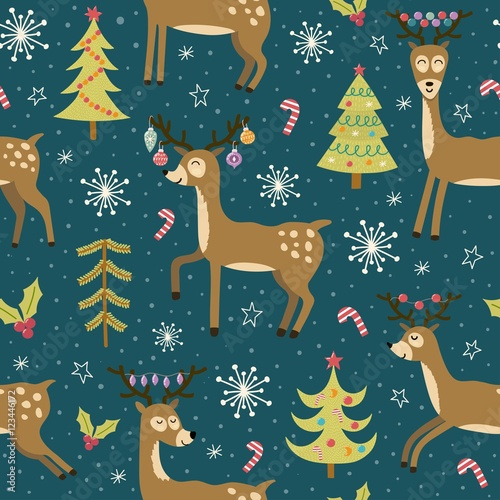 Cotton fabric Christmas seamless pattern with cute deers