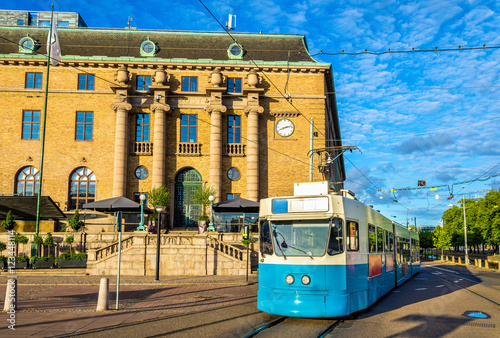 Tram on a street of Gothenburg - Sweden