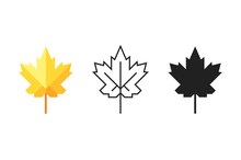 Set Of Maple Leaf Icons. Silho...