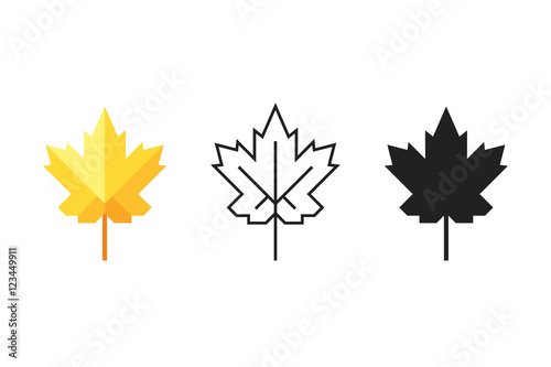 Fotomural  Set Of Maple Leaf Icons