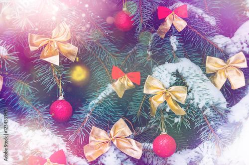 Fototapeta Decorated Christmas tree obraz na płótnie