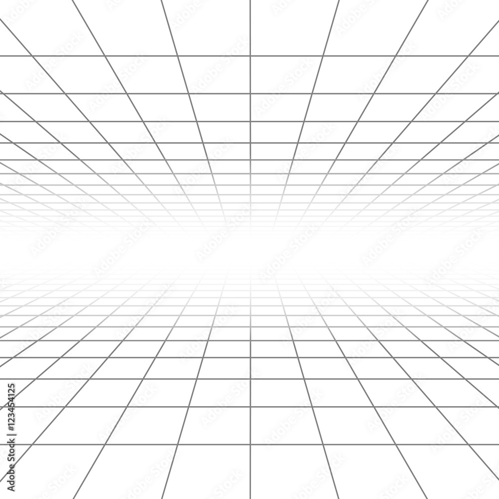 Fototapeta Ceiling and floor perspective grid vector lines, architecture wireframe