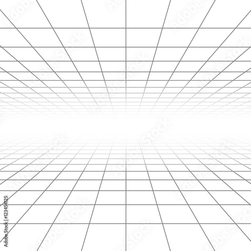 Ceiling and floor perspective grid vector lines, architecture wireframe Wall mural