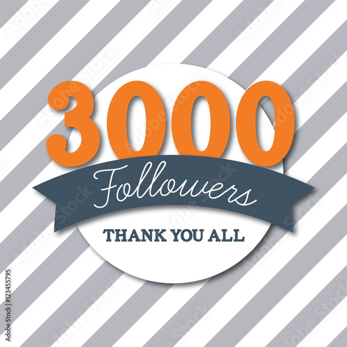Fotografija  3000 followers social media thank you banner