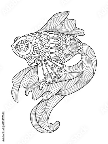 Gold fish coloring book for adults vector – kaufen Sie diese ...