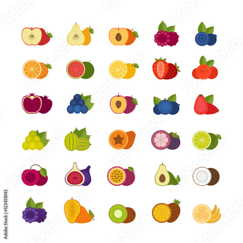 Foto op Aluminium Pixel Fruits and berries icons set. Flat style, vector illustration.