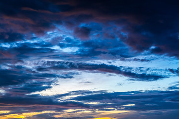 sky with clouds in the twilight