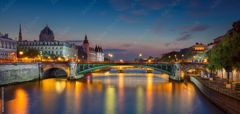 Fototapeta Paris Panorama. Panoramic image of Paris riverside during twilight blue hour.