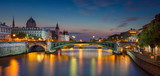 Fototapeta Paris - Paris Panorama. Panoramic image of Paris riverside during twilight blue hour.