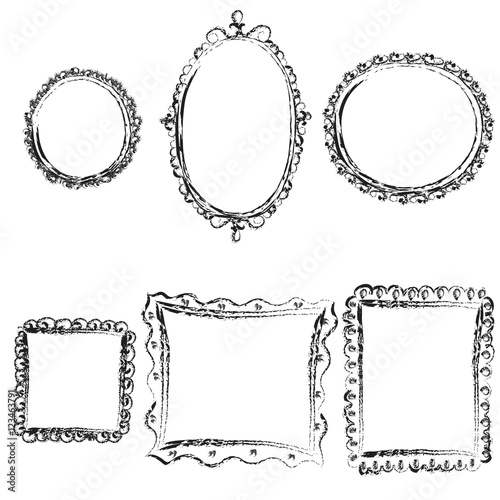 Vintage sketch frames, isolated on white background. Vector ...