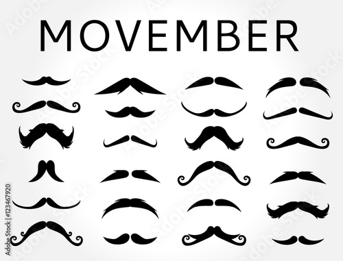 Photo  Movember mustache vector set.