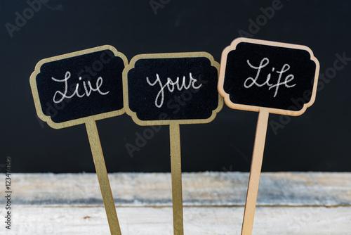 Fotografie, Obraz  Motivational message Live Your Life written with chalk