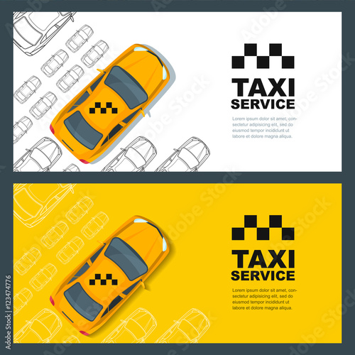 Tablou Canvas Set of vector taxi service banner, flyer, poster design template
