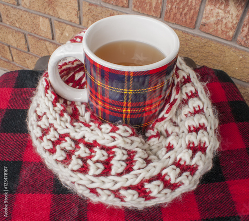 Winter Tea Wrapped in Fuzzy Scarf - Buy this stock photo and explore