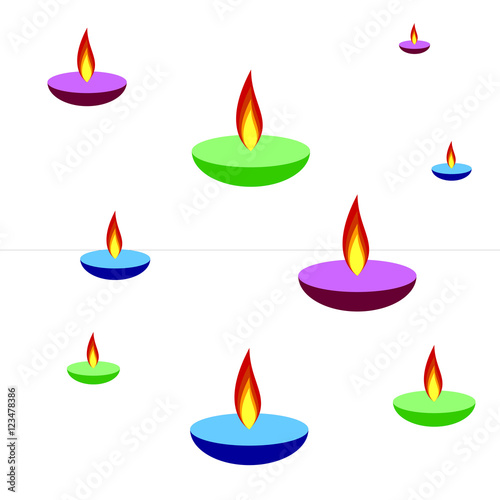Happy Diwali Background With Lamps Fire Candle Isolated On