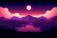 Vector Mountain, Lake And Forrest Landscape In The Night.